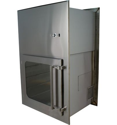 ENVIROPASS® Stainless Steel Ventilated Pass-Through with Fan HEPA Filter Unit view of rear and side HEPA filter vent