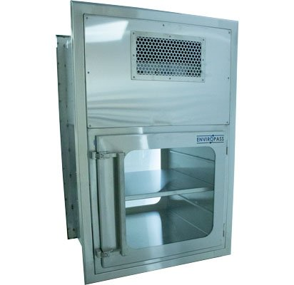 ENVIROPASS® Stainless Steel Ventilated Pass-Through with Fan Filter Unit Front View showing shelf installed