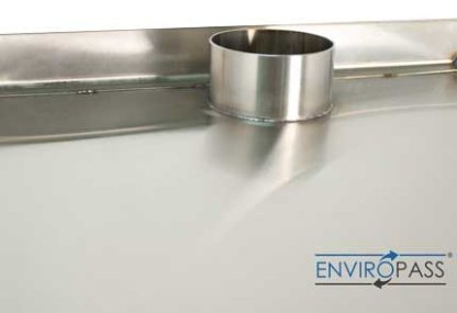 EnviroPass® custom stainless pass-through top view showing vent stub