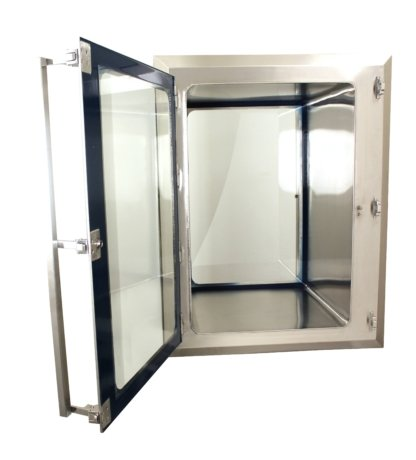 EnviroPass® biologically-safe stainless pass-through with view window shwon with door open