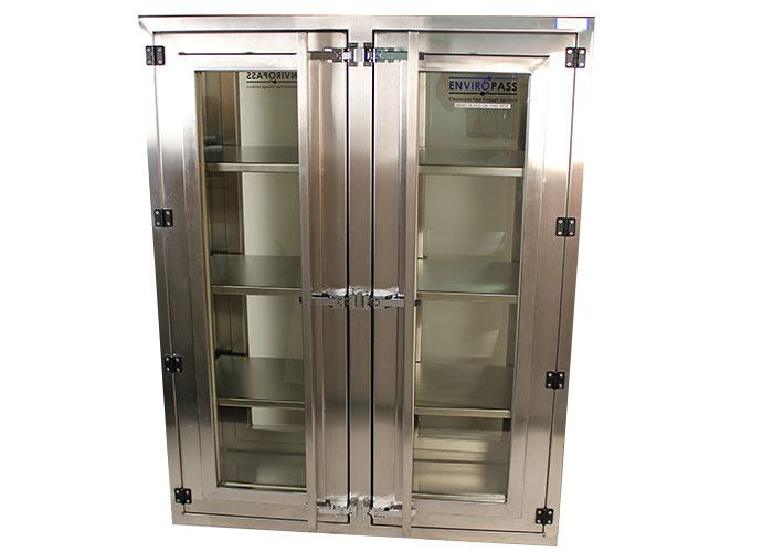 EnviroPass® Custom Pass-through with Large window and shelves shown with doors closed