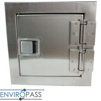 EnviroPass® Stainless Steel Fire-Resistant Pass-Through Console shown with solid door