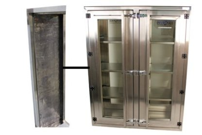 EnviroPass® Lead-lined stainless steel pass-through with leaded glass for radiation material handling