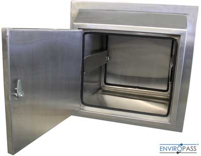 EnviroPass® Stainless Steel Specimen Pass-Through front view with door open showing interior