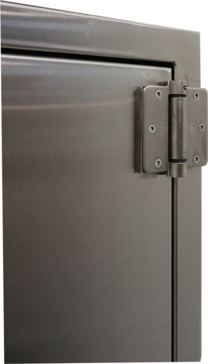 EnviroPass® Custom fire-rated pass-through console showing self-cloe hinge detail