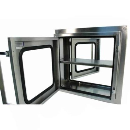 EnviroPass® stainless steel economy standard pass-through version with viewing windows shown with open cabinet doors
