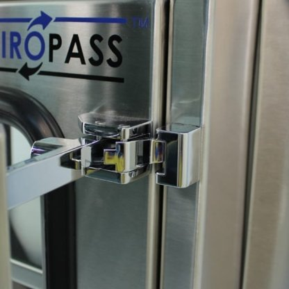 latch detail on EnviroPass® stainless steel economy standard pass-through version with viewing windows