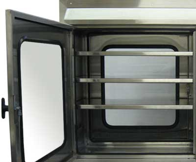 EnviroPass® Custom pass-through in stainless steel interior view