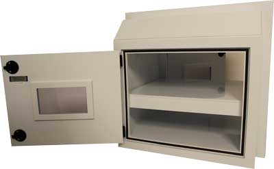 EnviroPass® chemical resistant polypropylene pass-through chamber small version door open interior view