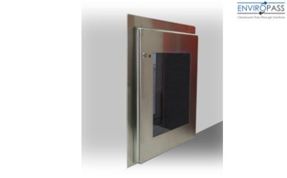 EnviroPass® stainless steel floor mount pass through chamber shown installed in wall