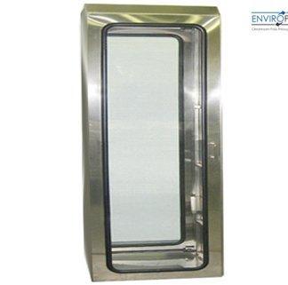 EnviroPass® stainless steel walk through pass through chamber shown installed in wall