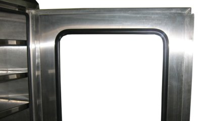 EnviroPass® stainless steel operating room pass through console showing door detail