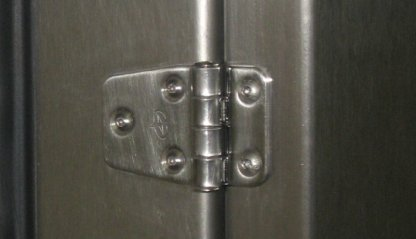 EnviroPass® stainless steel operating room medical pass through showing heavy duty stainless steel hinge detail
