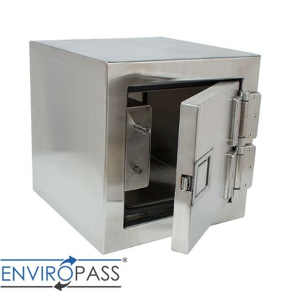 EnviroPass® Stainless Steel Fire-Rated Pass-Through Console with solid door shown with hatch slightly open
