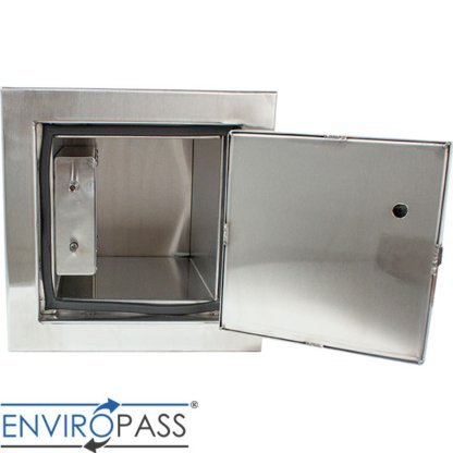 EnviroPass® Stainless Steel Fire-Rated Pass-Through Console with solid door shown with hatch fully open