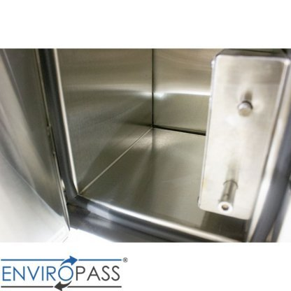 EnviroPass® Stainless Steel Fire-Rated Pass-Through Console with solid door showing interior view