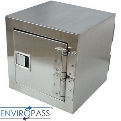 EnviroPass® Stainless Steel Fire-Rated Pass-Through Console with solid door showing top side view