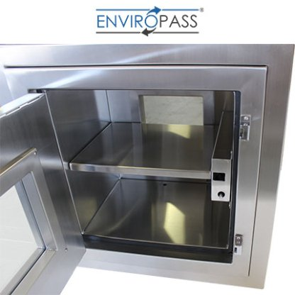 ENVIROPASS® Stainless Steel Clean Room Pass-Through Console with Pressure Valve interior view with door open