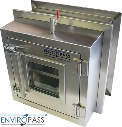 ENVIROPASS® Stainless Steel Clean Room Pass-Through Console with Pressure Valve side angle view