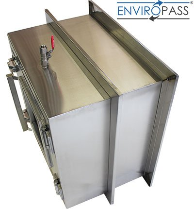 ENVIROPASS® Stainless Steel Clean Room Pass-Through Console with Pressure Valve side view