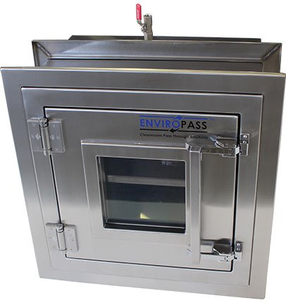 ENVIROPASS® Stainless Steel Clean Room Pass-Through Console with Pressure Valve front view