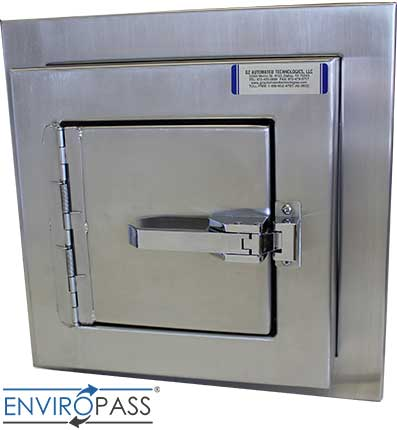 EnviroPass® Stainless Steel Specimen Pass-Through with Self-Closing Hinges front view with closed door