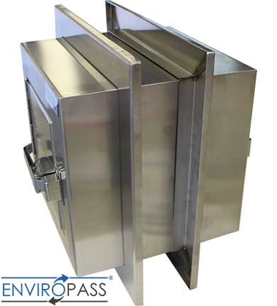 EnviroPass® Stainless Steel Specimen Pass-Through with Self-Closing Hinges side view of stainless steel wall flanges