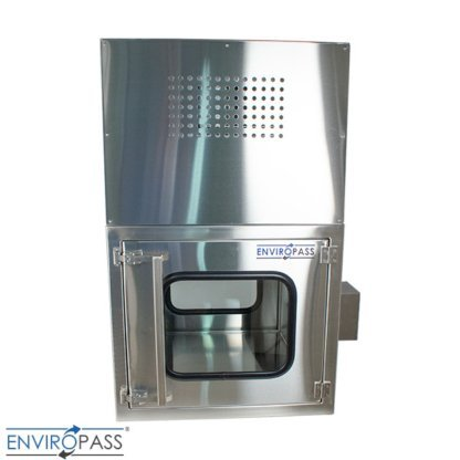 ENVIROPASS® Stainless Steel Ventilated Negative Pressure Pass-Through with Fan Filter Unit rear side view of fan filter control access panel