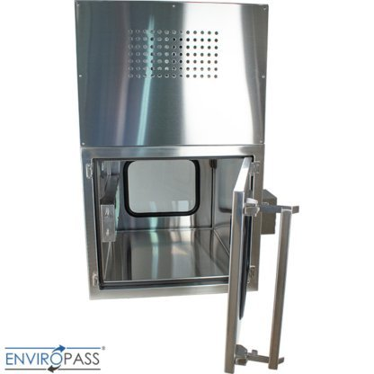 ENVIROPASS® Stainless Steel Ventilated Negative Pressure Pass-Through with Fan Filter Unit rear side view with pass through door open