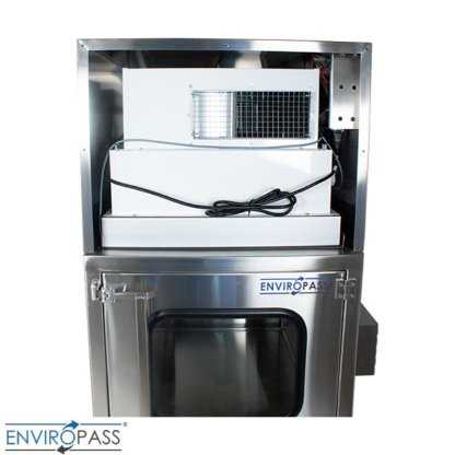 ENVIROPASS® Stainless Steel Ventilated Negative Pressure Pass-Through with Fan Filter Unit view of FFU inside pass-through