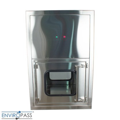 ENVIROPASS® Stainless Steel Ventilated Negative Pressure Pass-Through with Fan Filter Unit view of front with indicator light showing not ready (red)