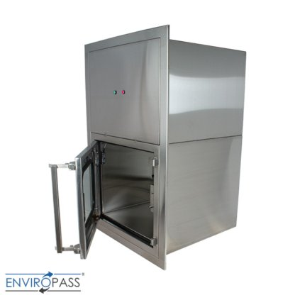 ENVIROPASS® Stainless Steel Ventilated Negative Pressure Pass-Through with Fan Filter Unit side view with door open