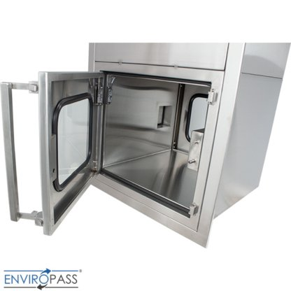 ENVIROPASS® Stainless Steel Ventilated Negative Pressure Pass-Through with Fan Filter Unit view of interior through open door