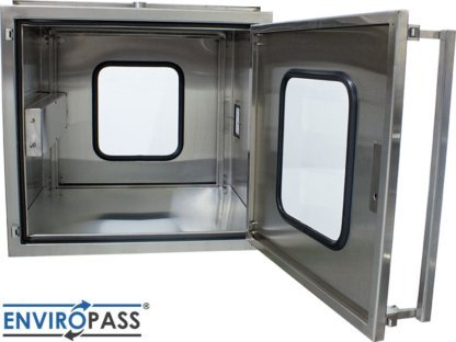 EnviroPass® Stainless Steel Ventilated Pass-Through with HEPA filter shown with front door open