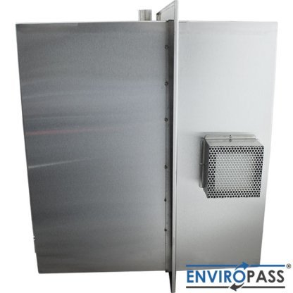 EnviroPass® Stainless Steel Ventilated Pass-Through with HEPA filter side view of outside of HEPA filter housing