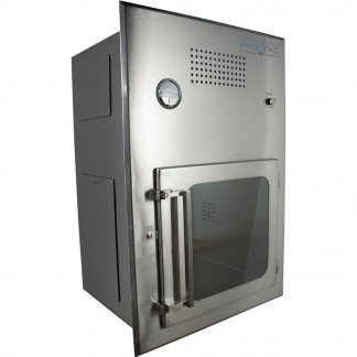 Front left angle view of EnviroPass® Stainless Steel Double-Walled Biologically Safe Pass Through Chamber with HEPA FFU